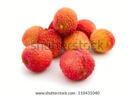 Exotic lychee fruit on white background - stock photo