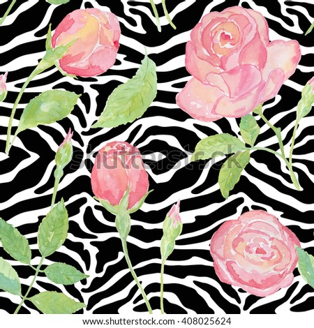 Exotic pattern with roses on the skin of animals. Floral seamless pattern with roses on a zebra skin texture. - stock photo