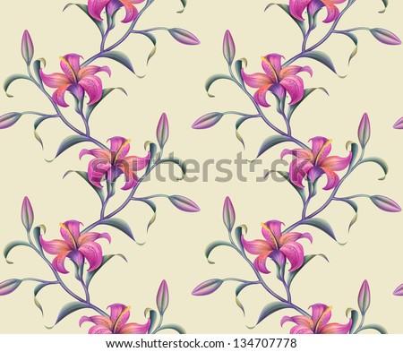 exotic pink lily seamless ornate pattern - stock photo