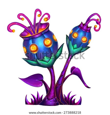 Exotic Plants Set - No.8 - Aquarius Flower - Dark version - stock photo