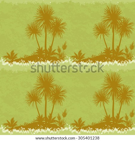 Exotic Seamless Landscape, Ocean Symbolic Island with Silhouettes Palm Trees and Plants on Abstract Grunge Background.  - stock photo
