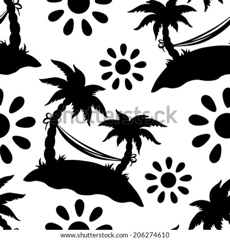 Exotic seamless pattern with silhouettes tropical coconut palm trees. Summer. Hammock. Sun. Endless print repeating background texture in black and white. Wallpaper - raster version - stock photo
