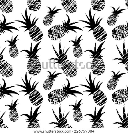 Exotic seamless pattern with silhouettes tropical fruit pineapples. Food repeating background. Abstract print texture. Cloth design. Wallpaper  - stock photo