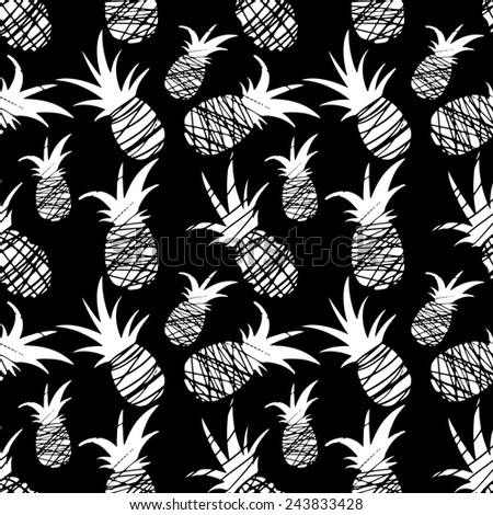 Exotic seamless pattern with silhouettes tropical fruit pineapples in black and white. Food hand drawn repeating background. Abstract print texture. Cloth art design - stock photo