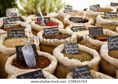 Exotic spices on the market in Provence, France - stock photo