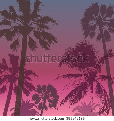 Exotic Travel Background with Palms . Summer Banner for Tourism. Print  for T-shirt.
