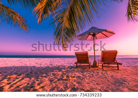 Exotic Tropical Beach Sunset Colorful Landscape For Background Or Wallpaper Romantic Scene With