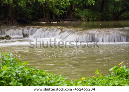 Exotic tropical forest waterfall in Saraburi, Thailand