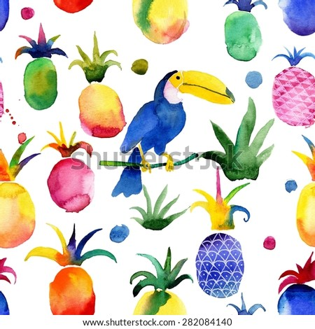 Exotic, tropical seamless pattern with bird, pineapple, toucan.. #2 - stock photo