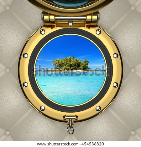 Exotic turquoise lagoon and island from the luxurious boat window 3D illustration - stock photo