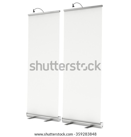 Expand Roll Up Banner. Trade show booth white and blank. 3d render isolated on white background. High Resolution Template for your design.