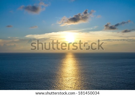Expanse of the sea against the sunset sky. Beautiful seascape.  - stock photo