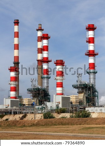 Expansion works on a petrol refinery and powerplant - stock photo