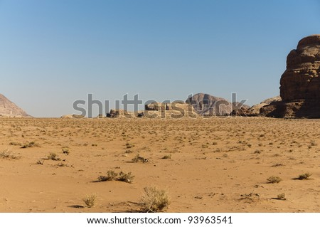 Expansive view of the desert in the Wadi Rum UNESCO World Heritage area, Jordan