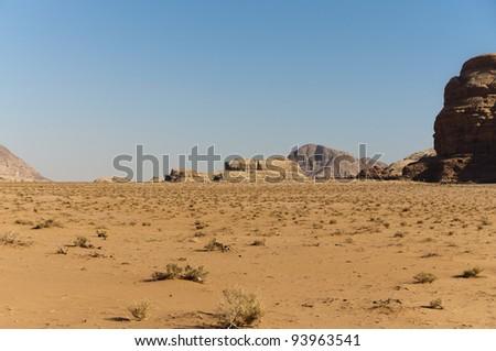 Expansive view of the desert in the Wadi Rum UNESCO World Heritage area, Jordan - stock photo