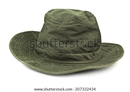 expedition hat on white background - stock photo