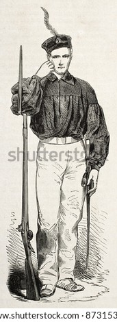 Expedition of the thousand: Garibaldian soldier. Created by Worms, published on L'Illustration, Journal Universel, Paris, 1860