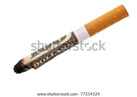 Expenditure for smoking - cigarette butt isolated over white background - stock photo
