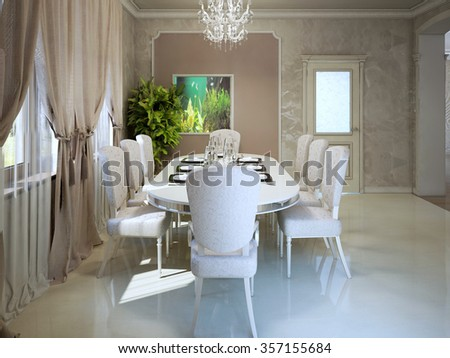 Expensive apartments in avantgarde style. Dining with white furniture. 3D render - stock photo