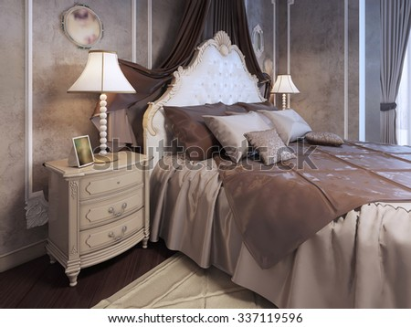Expensive bed neoclassic bedroom pillows on stock illustration expensive bed at neoclassic bedroom pillows on bed in luxury mahogany bedroom bedside table mozeypictures Image collections