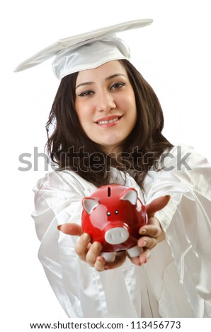 Expensive education concept with student and piggy bank