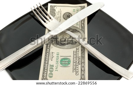 expensive food - 100 dollars on black square plate