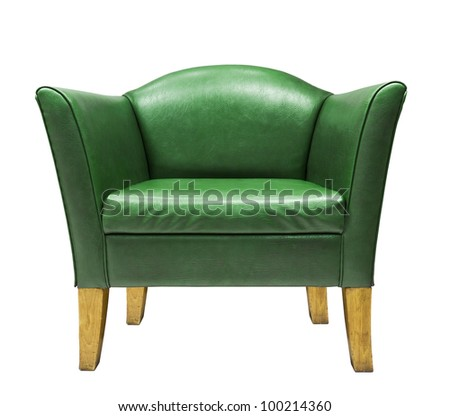 Expensive green leather armchair isolated on white background - stock photo