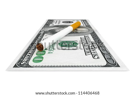 Expensive habit and No Smoking concept. Dollars banknotes with cigarette on a white background