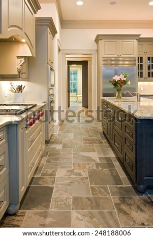 slate floors in kitchen expensive kitchen slate floors mixed wood stock photo 5316