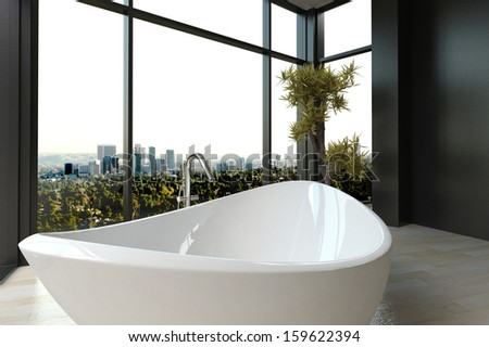 Expensive luxury bathtub against panoramic window with cityscape view - stock photo