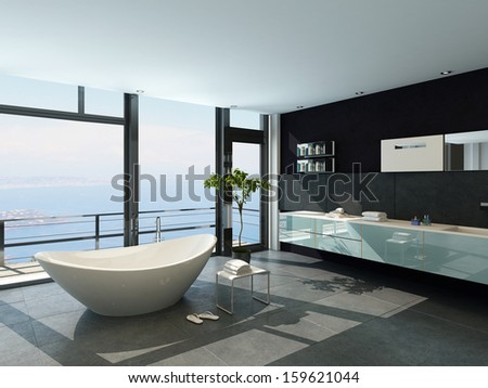 Expensive luxury bathtub against panoramic window with seascape view - stock photo
