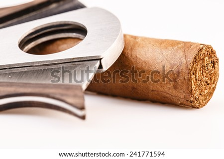Expensive luxury cigar and cutter on a white background - stock photo