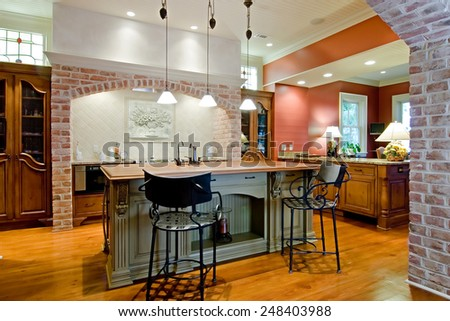 expensive tuscan style kitchen remodel - stock photo