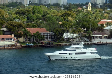 Expensive yacht on the waterways of Fort Lauderdale, Florida - stock photo