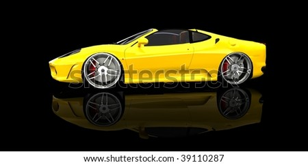 Expensive Yellow luxury sports car / sportscar in black studio with refelction - stock photo