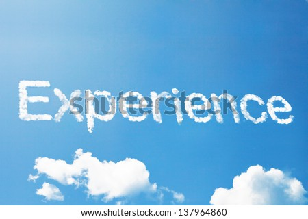 Experience cloud word - stock photo