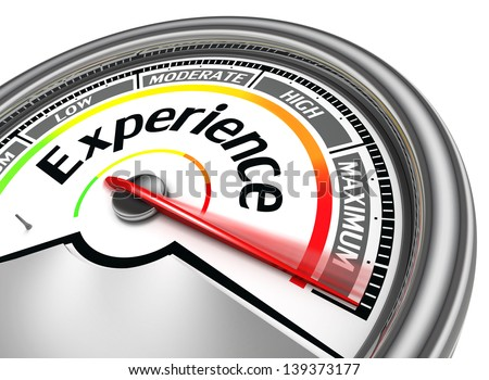 experience conceptual meter indicate maximum, isolated on white background