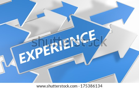 Experience 3d render concept with blue and white arrows flying over a white background. - stock photo