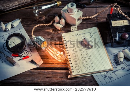 Experience in electrical lab at school - stock photo