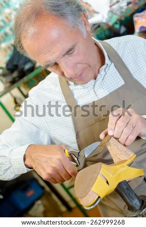 Experienced shoemaker hard at work - stock photo