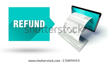 Expert advice, network computer with online tax form or invoice - stock photo