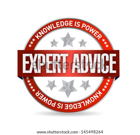 expert advice seal illustration design over a white background - stock photo