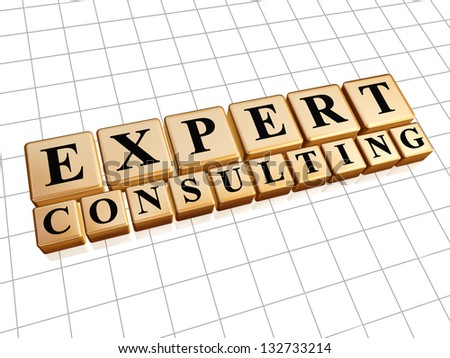 expert consulting - text in 3d golden cubes with black letters, business concept - stock photo