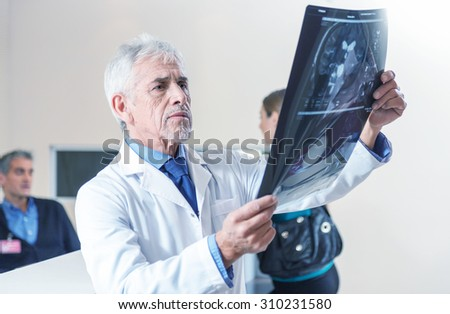 Expert doctor analyzing x-ray scan at hospital. - stock photo