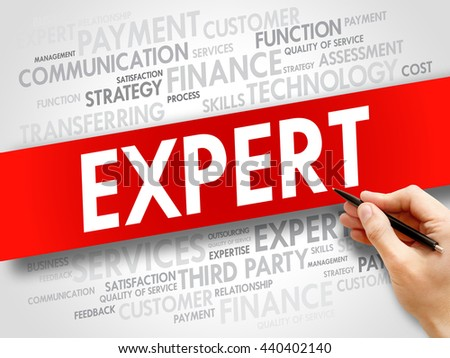 Expert related items words cloud, business concept - stock photo
