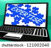 Expertise Puzzle On Notebook Showing Great Computer Skills And Abilities - stock photo