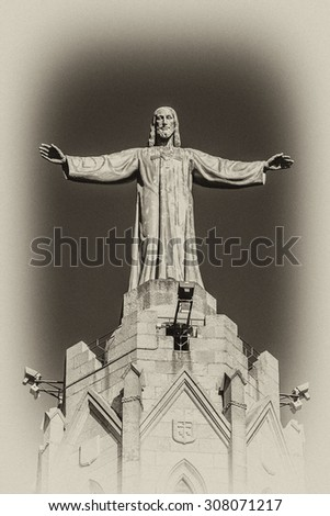Expiatory Church of Jesus Sacred Heart (Temple Expiatori del Sagrat Cor) - Roman Catholic church and minor basilica located on summit of Mount Tibidabo in Barcelona, Catalonia, Spain. Antique vintage.