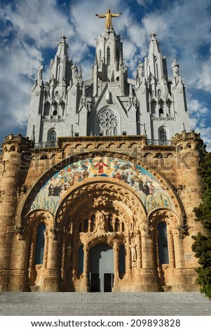 Expiatory Church Of The Sacred Heart Of Jesus On Summit Of Mount Tibidabo In Barcelona, Catalonia, Spain - stock photo