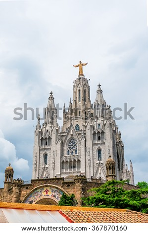 Expiatory Church of the Sacred Heart of Jesus  on summit of Mount Tibidabo in Barcelona, Spain.