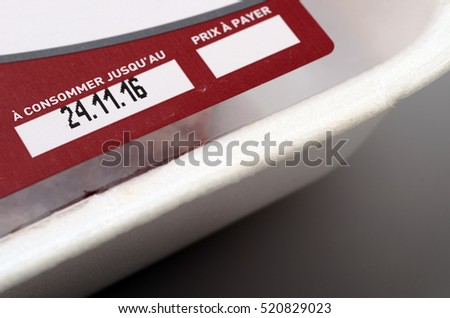 Expiration date or best before date on a food label product